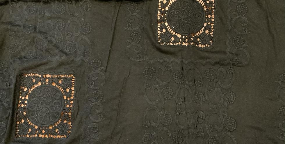 Bijou Black Embroidered Viscose Jersey Remnant