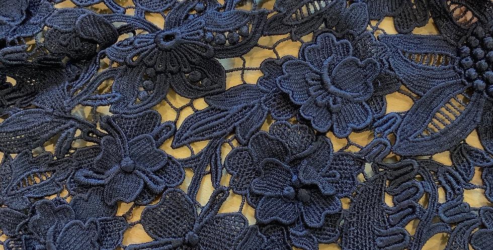 Navy 3d Guipure Lace Off Cut #9060
