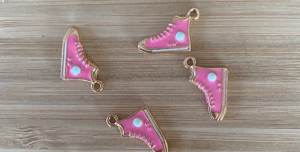 Hot pink high top sneaker charm