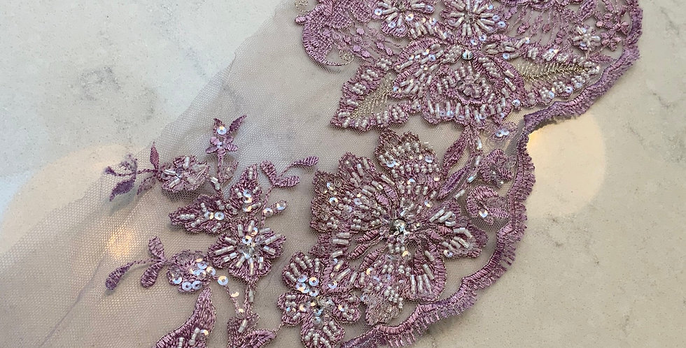 Lilac Hand Dyed Beaded Lace Off Cut #708...