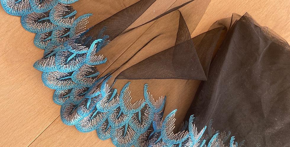 aqua feather embroidered mesh 70cm piece