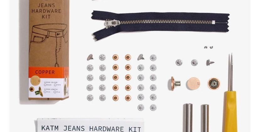 KATM jeans hardware kit COPPER 19cm zip