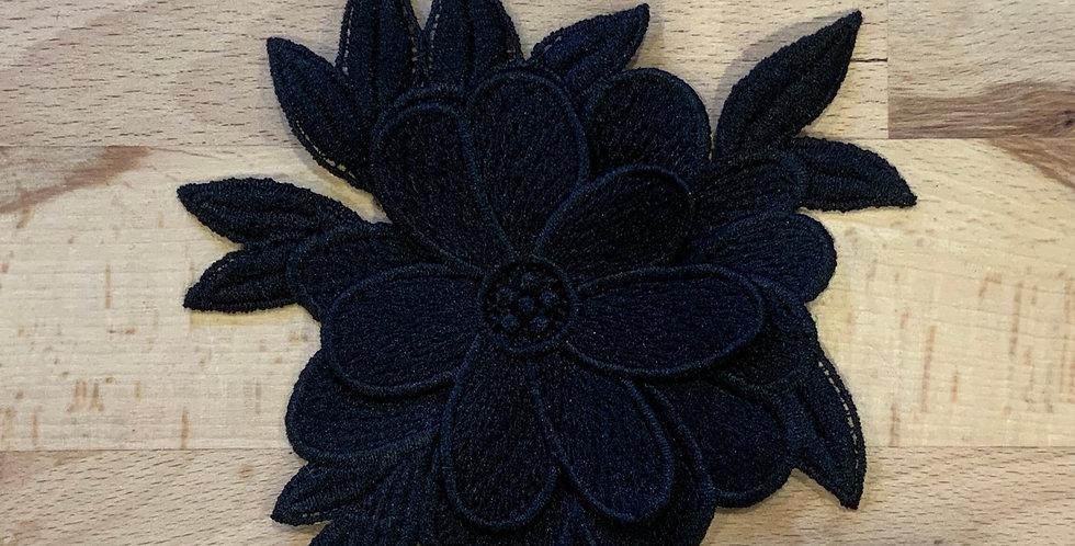 Black Two Layer 3d Flower Motif...