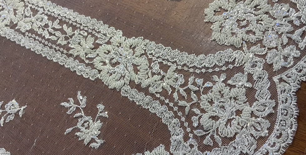 Ivory Hand Beaded Hailspot Mesh Lace 3mtr piece