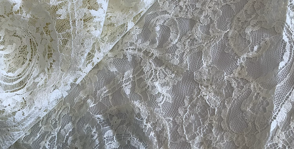Cream French Paisley Chantilly Lace Piece #4000