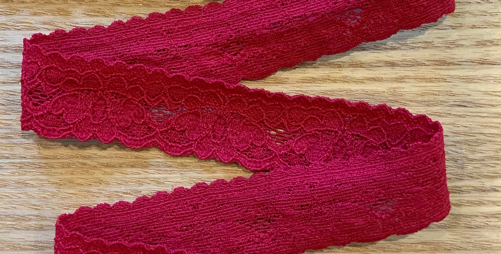 Light Cherry Red Stretch Lace...