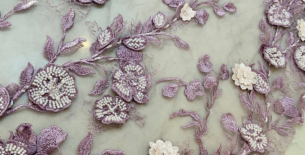 Lilac Hand Dyed Beaded Lace Piece #705...