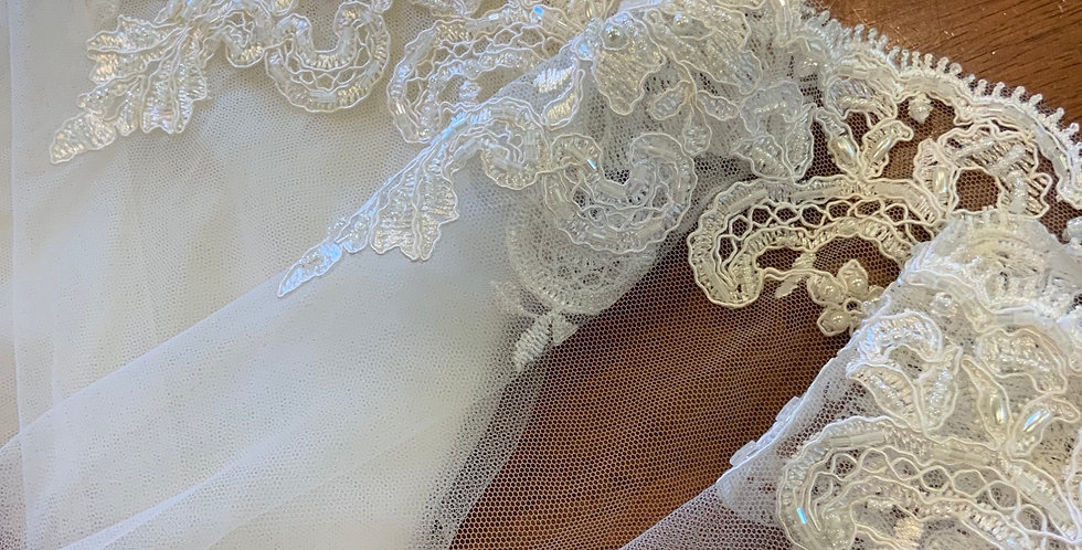 Victoria Ivory Beaded Bridal Tulle Lace Trim...