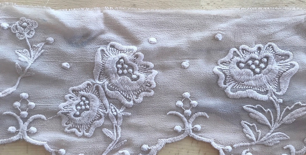 Mocha embroidered silk trim