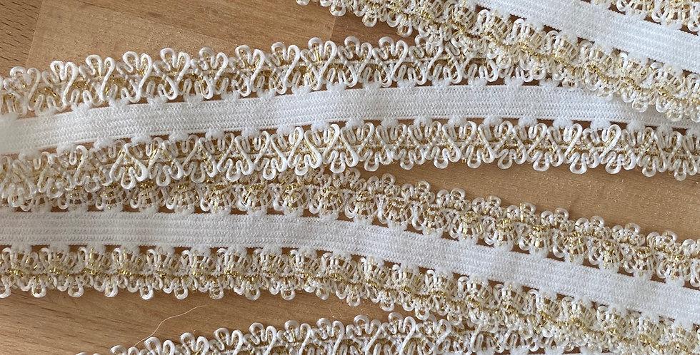Gold glitter double crown edge elastic