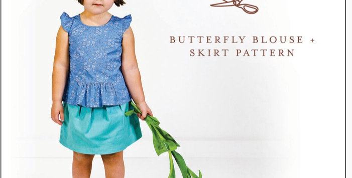 Oliver +S butterfly blouse and skirt printed pattern