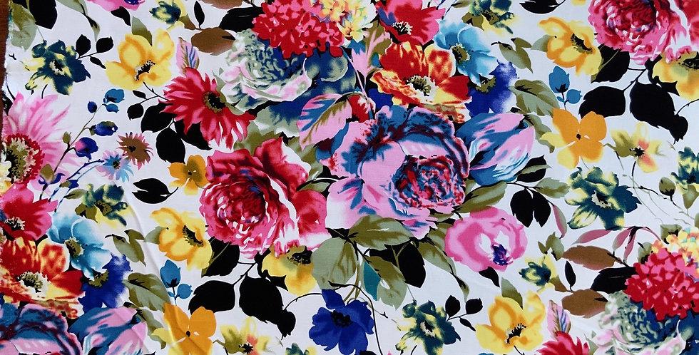 Vivid Bloom Printed Bengaline Suiting....