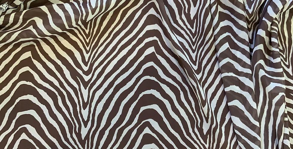 Mocha Zebra Polyester Georgette