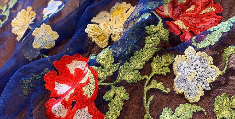 Navy Botanical Embroidered Mesh panels...