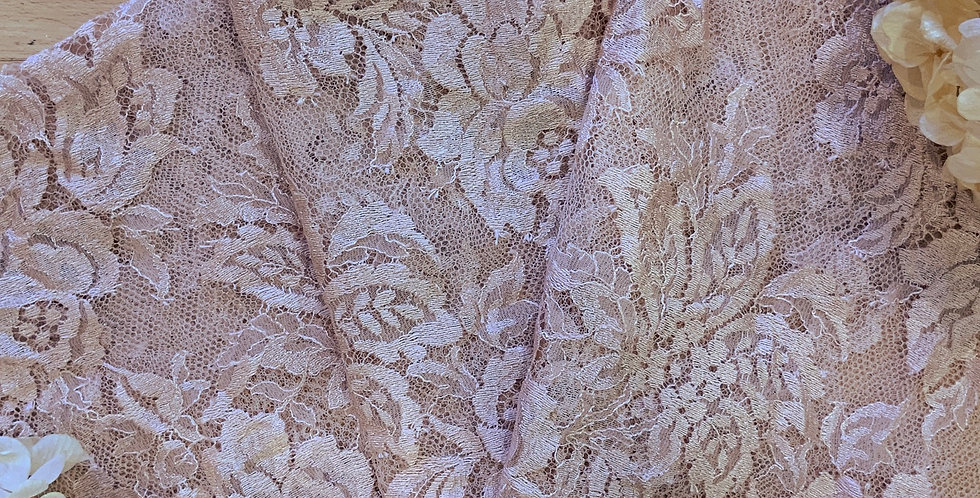 Fat Quarter Pale Mocha Pink Hand Dyed Chantilly Lace Piece...