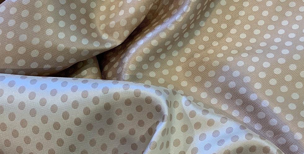 Latte Reversible Spots Fine Jacquard Polyester Twill