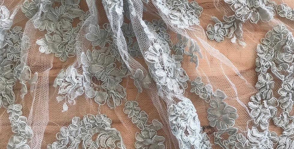 Dusty duck egg lace piece #4