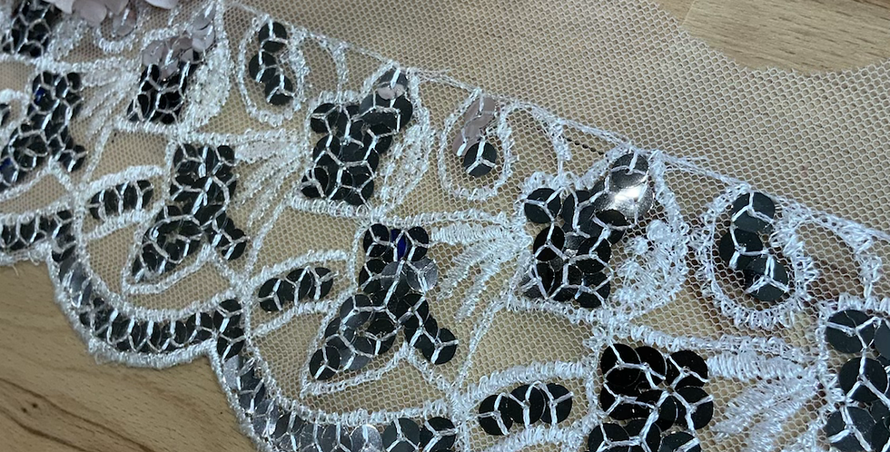 Sequin Fans Embroidered Trim...
