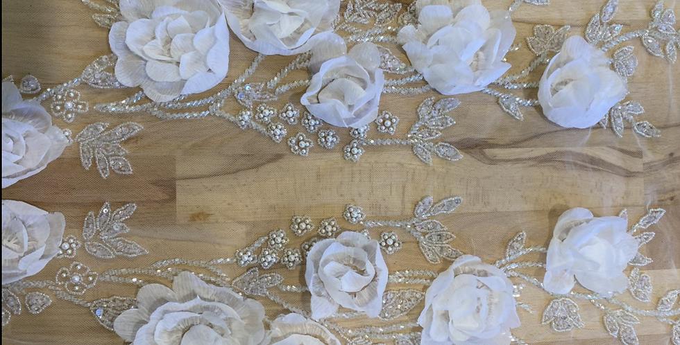 White 3D flower beaded tulle piece 14