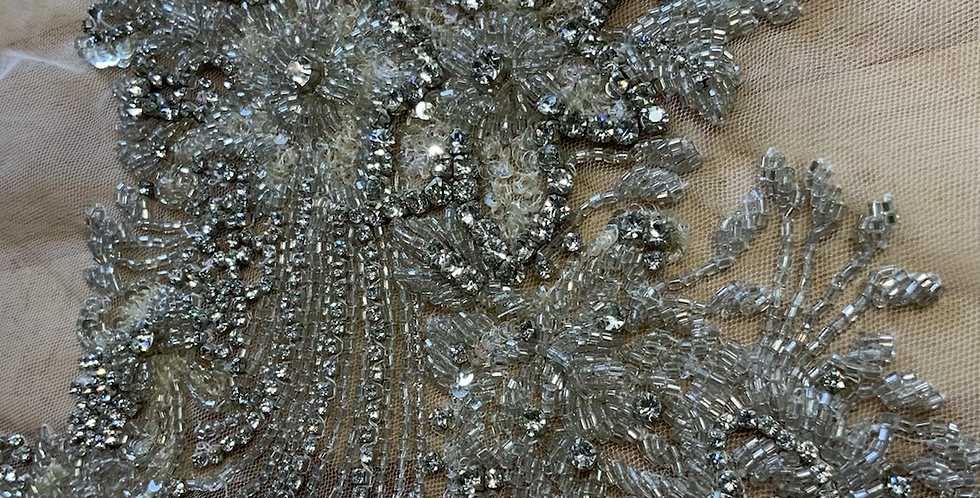 Ivory / Silver Hand Beaded Tulle Piece J6