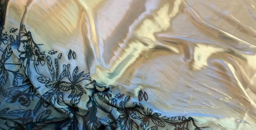 Blue/Silver Burnout Silk Satin Border Design Remnant