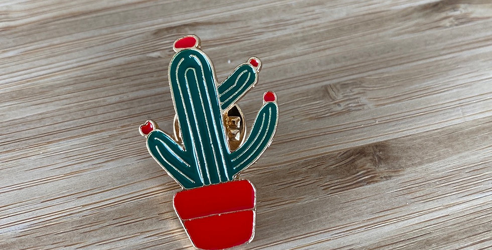 cacti love enamel pin