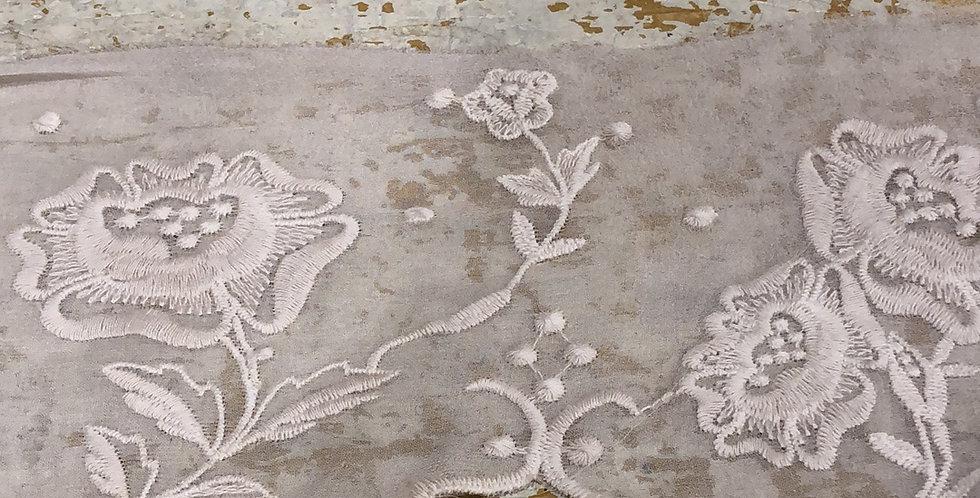 Lilla embroidered silk chiffon trim Latte