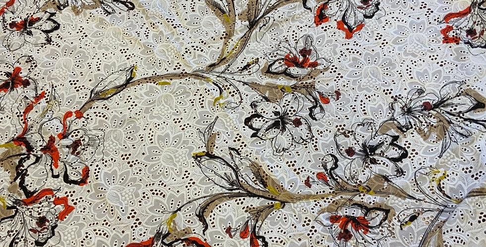 Autumn Lotus Cotton Broderie Remnant