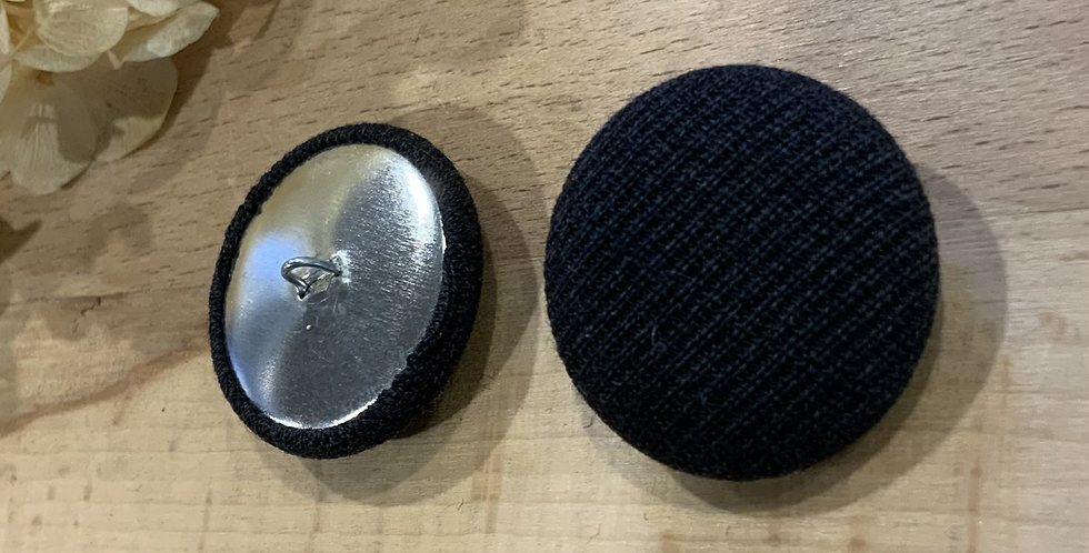 Charcoal Black Knit Covered Textured Coat Button