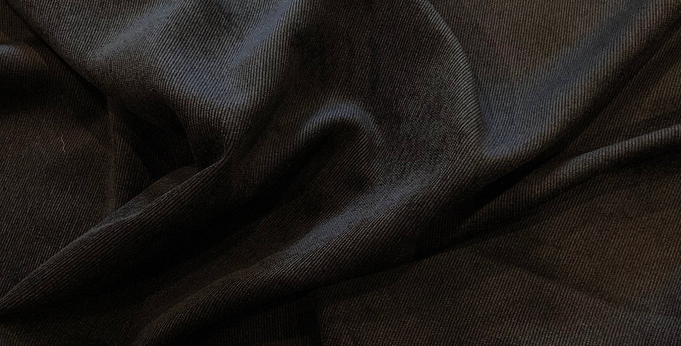 Black Fine Corduroy Stretch Polyester Suiting Remnant