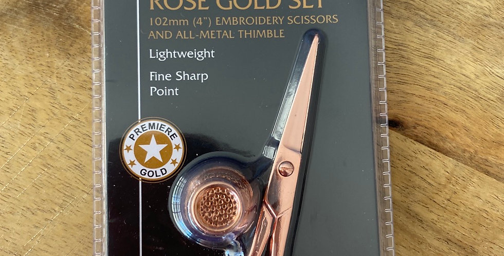 Rose gold embroidery scissors and thimble set
