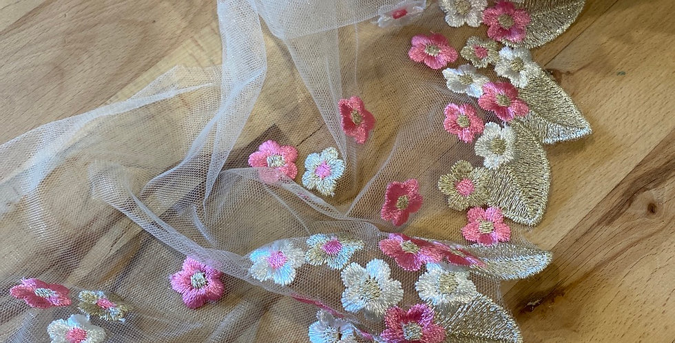 Flower drop embroidered trim hot pink