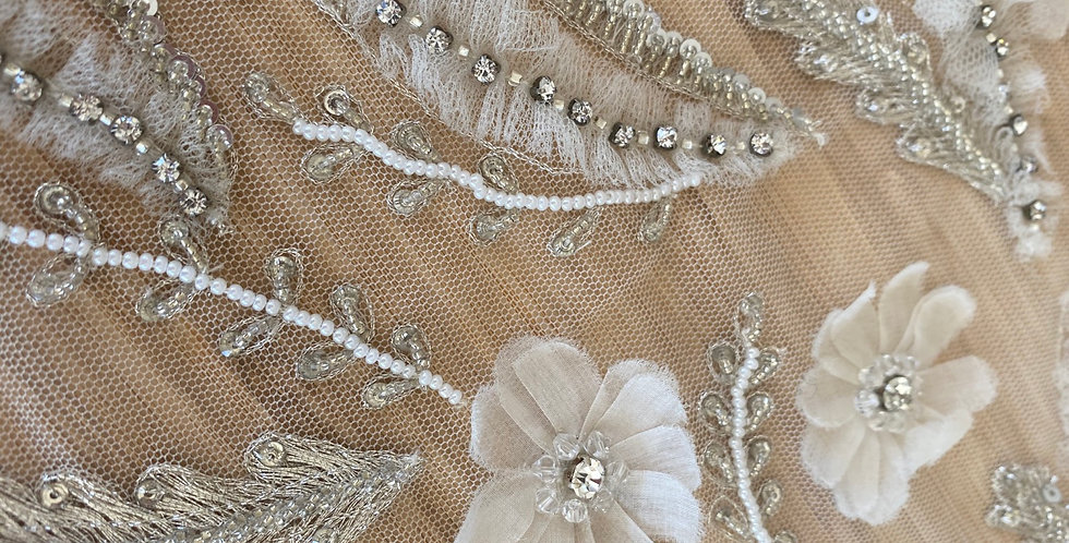 Silver 3D embroidered flower tulle piece C8