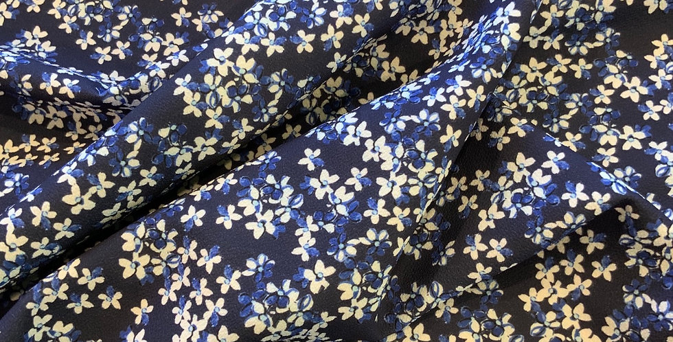 Navy Daisies Fused Polyester Crepe...