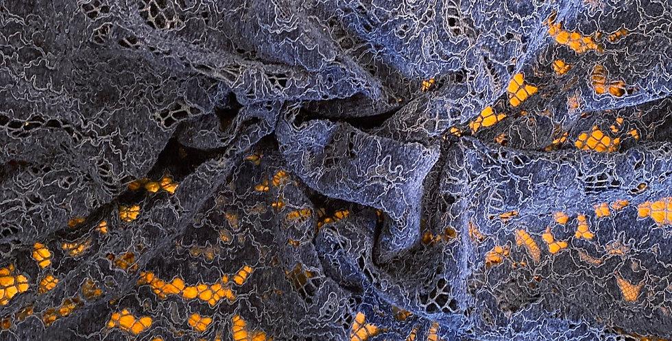 Navy velvet detail lace remnant