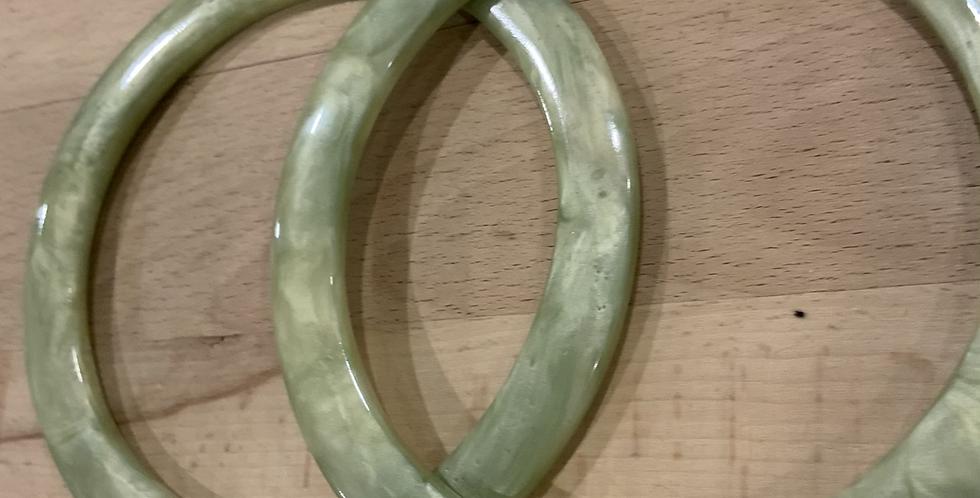 Pair of Bag Handles Green Pearl