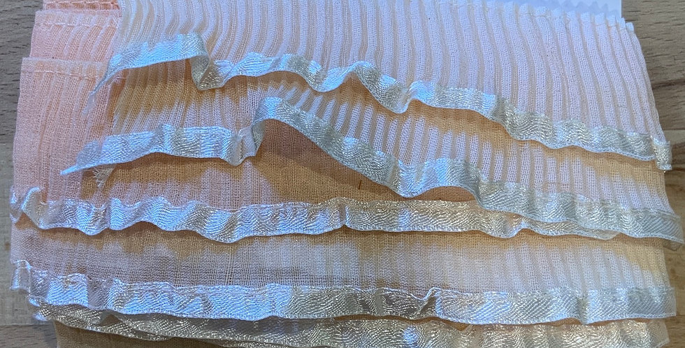 Mottled Hand Dyed Double Pleated Frill Remnant