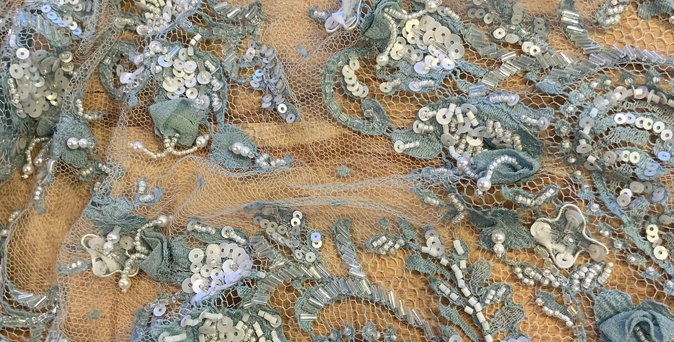 Duck Egg Hand Beaded Lace Off Cut #9014