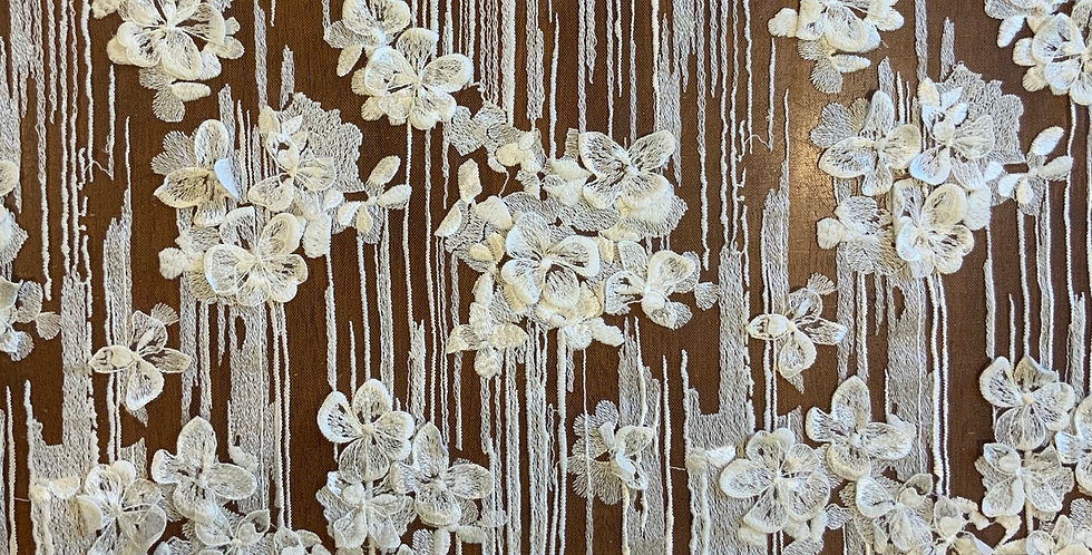 Julie Ivory 3d Embroidered Floral Tulle Piece...