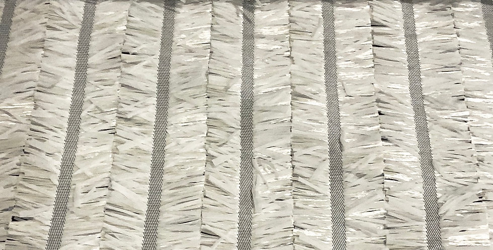 Rafia Faille Textured Fringe Stripe Remnant...