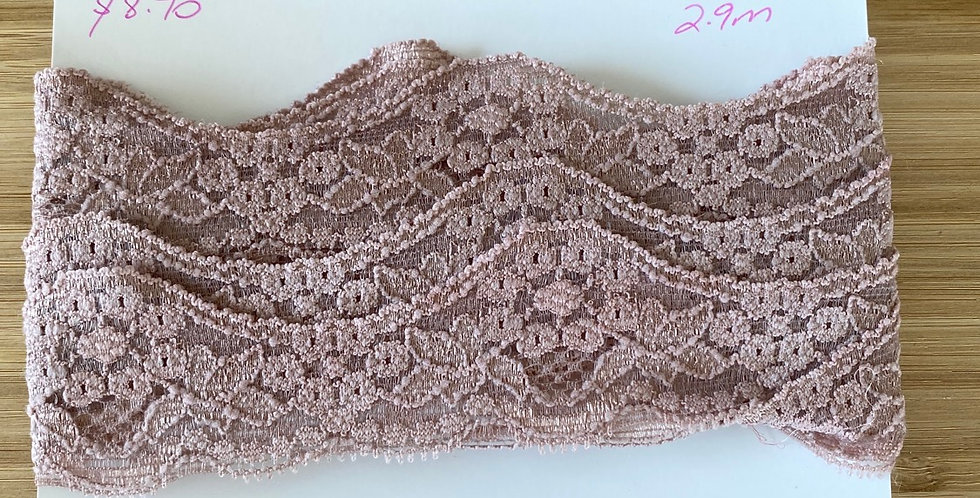 dusty rose stretch lace remnant