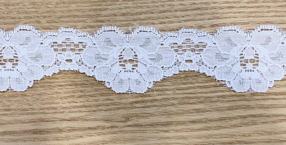 2.5cm-4cm White Scallop Stretch Lace...