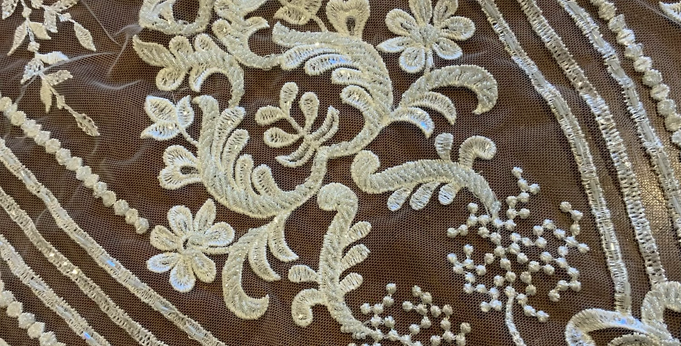 Ivory Beaded Lace Off Cut #7011