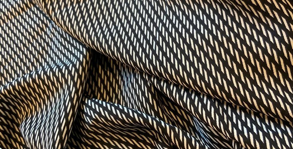 Darkest French Navy Nautical Stripes Polyester Remnant....