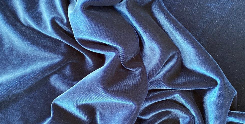 Bright navy stretch velvet