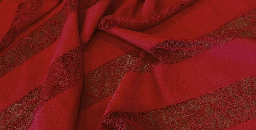 Rich Red Chantilly Edge Lace Stripe Remnant...