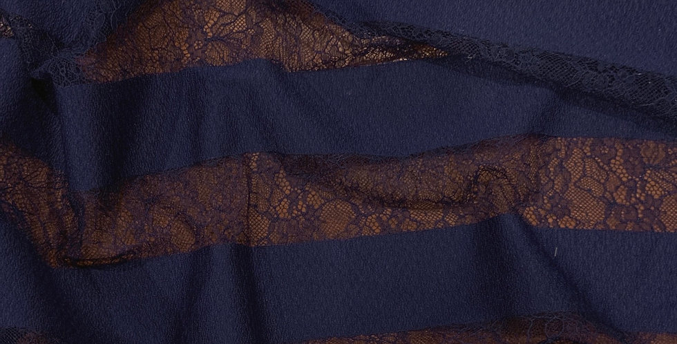 Navy Lace Stripes Remnant