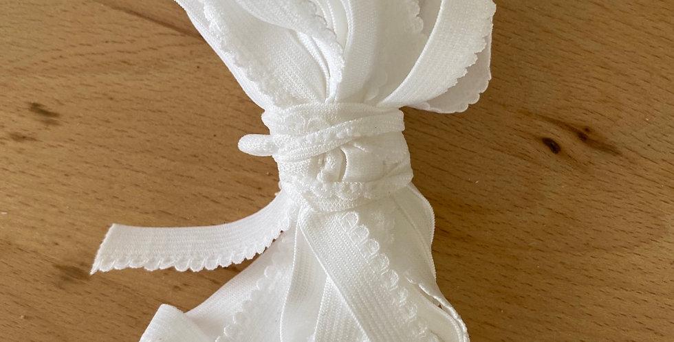 5 metres white petite edge picot