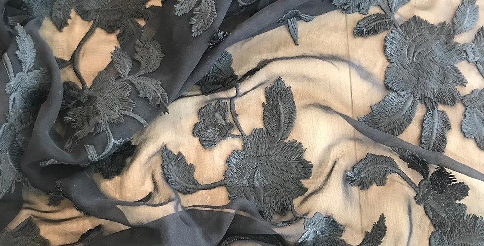 Black trail embroidered silk chiffon remnant