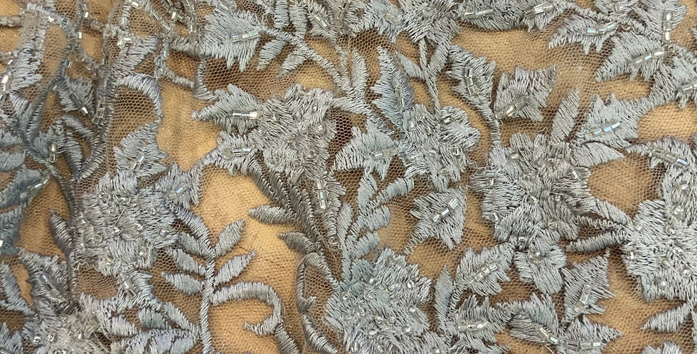 Dusty Grey Hand Dyed Beaded Lace Off Cut #9052